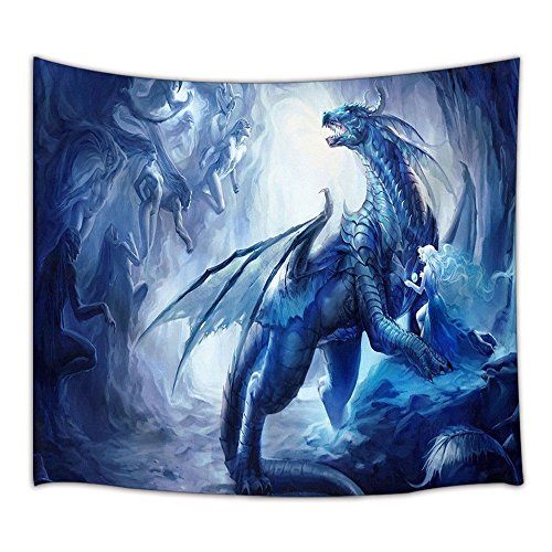 KOTOM Gothic Decor Tapestry, Custom Ice Dragon and Elf, Wall Art Hanging for Living Room Bedroom Dorm Decor 71X60Inches Wall Blankets]()
