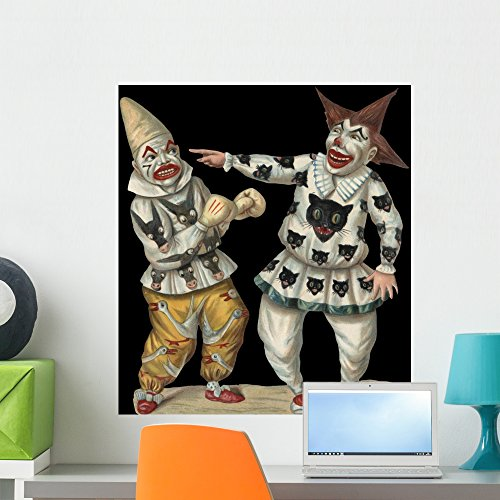 Wallmonkeys Victorian Die-Cut Scrap of Two Clowns Wall Decal Peel and Stick Graphic WM68697 (24 in H x 21 in W)