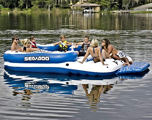 Sea-Doo 8 Person Inflatable Mega Island Lake Float W/ 4 Speaker Music - Inflatable Sea Doo