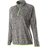 Holloway Ladies Force Training Top (X-Small, Carbon Heather/Lime)