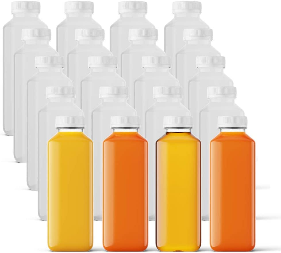 Smart Solutions BPA-Free Plastic Juice Bottles with Caps - 12oz 20 Pack - Reusable Clear Beverage Containers for Drinks, Smoothies and Juicing