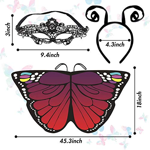 BigOtters Butterfly Wings, Girl Costume with Butterfly Mask Antenna Headband for Halloween Holiday Party Kids Fairy Shawl Festival Rave Dress up