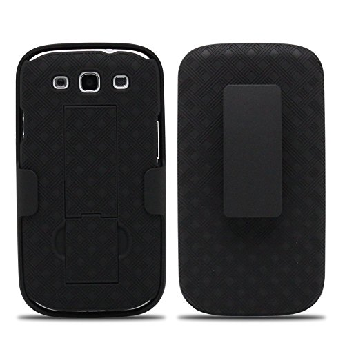 Samsung Galaxy S3 Case, Swivel Slim Belt Clip Holster Armor Protective Case, Defender Cover for Galaxy S3 Case with Clip (holster Shell Combo) - Black ()