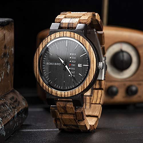 BOBO BIRD Mens Wooden Watch Analog Quartz with Week Display Lightweight Handmade Wood Wrist Watch for Men (Black Dial)