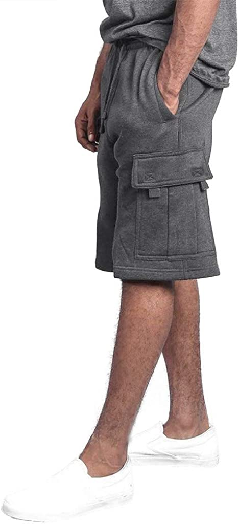 Alangbudu Men Causal Beach Shorts with Elastic Waist Drawstring Lightweight Slim Fit Summer Short Pants with Multi-Pocket