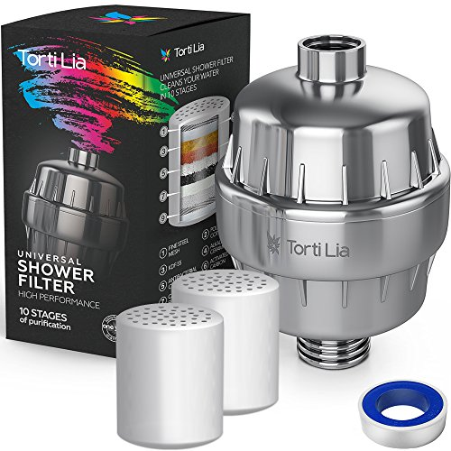 Rainshower Shower Filters (Shower Water Filter 10 Stage Shower Filter For Hard Water Removes Chlorine and Harmful Substances - Showerhead Filter High Output Prevents Hair and Skin Dryness - By Torti Lia)