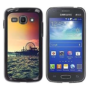 YOYOYO Smartphone Protección Defender Duro Negro Funda Imagen Diseño Carcasa Tapa Case Skin Cover Para Samsung Galaxy Ace 3 GT-S7270 GT-S7275 GT-S7272 - isla atardecer Coney nueva york verano