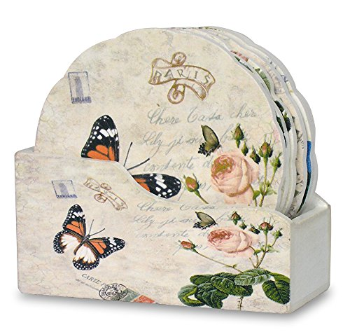 Flower Shaped Drink Coasters with Holder - Set of 6 - Assorted Butterfly and Rose Designs - Each Coaster is Printed with a Unique European Vintage Theme - Gifts for (Best Banberry Designs Glass Desks)