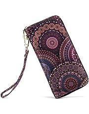 LOVEME Women Bohemian Style Double Zipper Clutch Wallets Bag Card Holder Wristlets