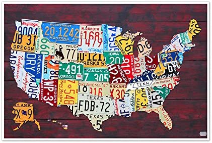 License Plate United States Map.Amazon Com United States Map License Plate Art 24x16 Matte