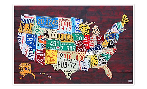 State License Plate (United States Map - License Plate Art - 24x16 Matte Poster Print Wall Art)
