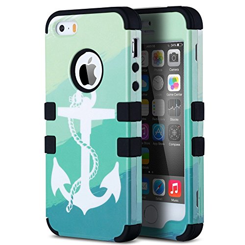ULAK 3 in 1 Shield Case for iPhone 5/ iPhone 5s Fashion Pattern Hybrid High Impact Soft Silicone + Hard PC Case Cover (Sea Anchor-Black)
