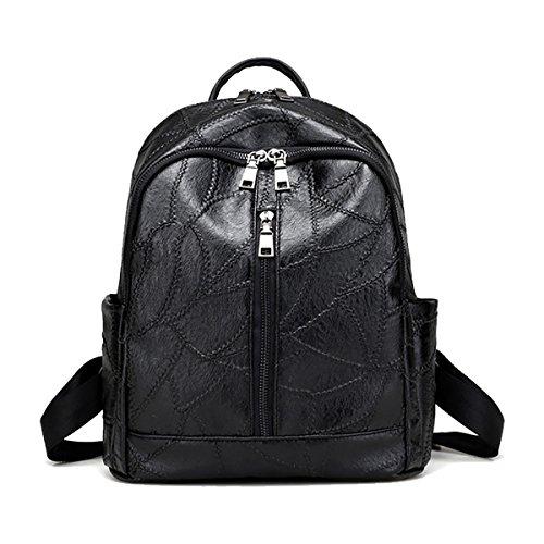 SDINAZ mochilas de mochila de viaje de cuero negro para niñas mujeres en línea Negro