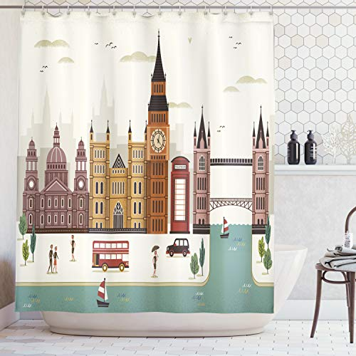 Ambesonne London Shower Curtain, Attractive Travel Scenery Famous City England Big Ben Telephone Booth Westminster, Fabric Bathroom Decor Set with Hooks, 70 Inches, Cream
