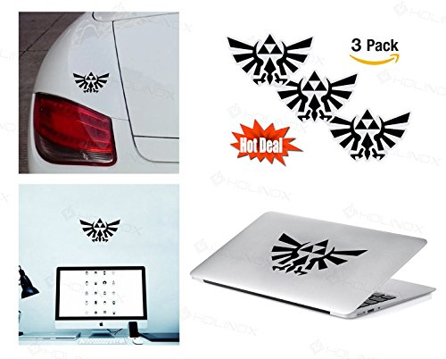 PACK of 3 Legend of Zelda Triforce Sticker Decal for Macbook, Laptop ,Car Window, Laptop, Motorcycle, Walls, Mirror and More. MTS022
