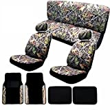 mossy oak seat cover sets - 14pc Camo Gray Forest Seat Cover Set with Plush Two-Tone Carpet Floor Mats License Plate Frame - Front Rear Headrests - 4 Floor Mats - in Surreal Camouflage