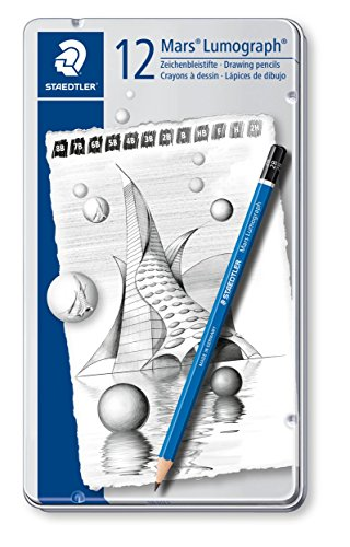 Staedtler Lumograph Graphite Drawing & Sketching Pencils, Soft Set of 12 Degrees (100G12S) (Graphic Sketching Pencil)