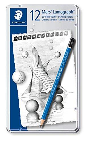 Pencil Lumograph (Staedtler Lumograph Graphite Drawing & Sketching Pencils, Soft Set of 12 Degrees (100G12S))