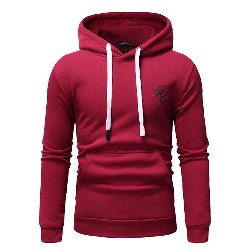 TOPUNDER Long Sleeve Autumn Winter Casual Sweatshirt Hoodies Top Blouse TracksuitsMen Red