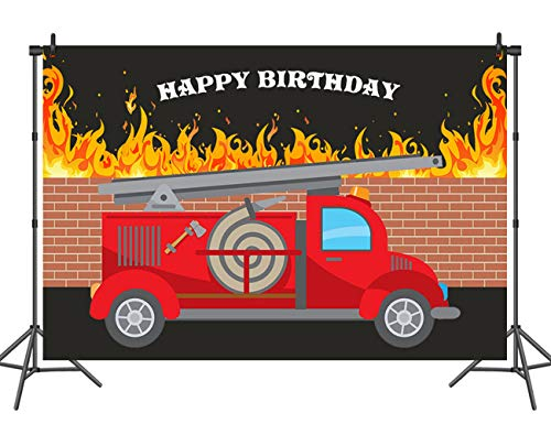 (Sensfun Fire Truck Happy Birthday Photo Backdrop Little Fireman Children Birthday Banner Decorations Background for Photography 7x5ft Firetruck Party Table Back Drop)