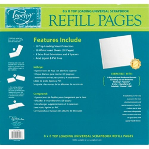 CR. Gibson Tapestry STK8-3465 8-Inch by 8-Inch Scrapbook Refill Pages (Album Tapestry Gibson Cr)