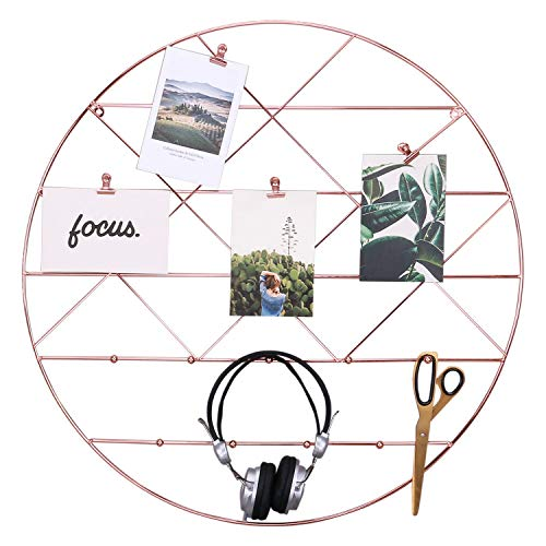 (Zksanmer Round Wall Gird Panel, Multifunctional Wire Photo Organizer & Hanging Display, Decorative Wall Storage Organizer Rack with Coat Hook, Rose Gold)