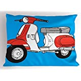 Funky Pillow Sham by Lunarable, Cute Scooter Motorcycle Retro Vintage Vespa Soho Wheels Rome Graphic Print, Decorative Standard Queen Size Printed Pillowcase, 30 X 20 Inches, Blue Red and White