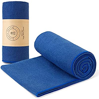 Yoga Mat Towel By Laguna Beach Textile Co Made With Antimicrobial Antibacterial Recycled Silver Sustainable Odor Free Sweat Absorbent Non Slip Bikram Hot Yoga Towel 24 X70 Blue Buy Online At Best Price