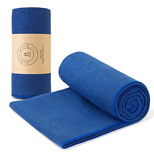 Yoga Mat Towel by Laguna Beach Textile Co | Sapphire Blue | Made with Antimicrobial/Antibacterial Recycled Silver | Sustainable, Odor Free, Sweat Absorbent, Non-Slip Bikram Hot Yoga Towel