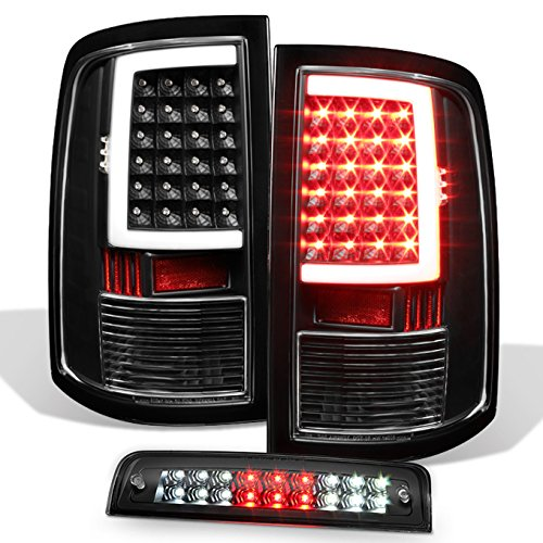For [LED Set] 09-18 Dodge Ram 1500/2500/3500 PickUp Black Bezel Tail Lights + 3rd Brake Lamp -