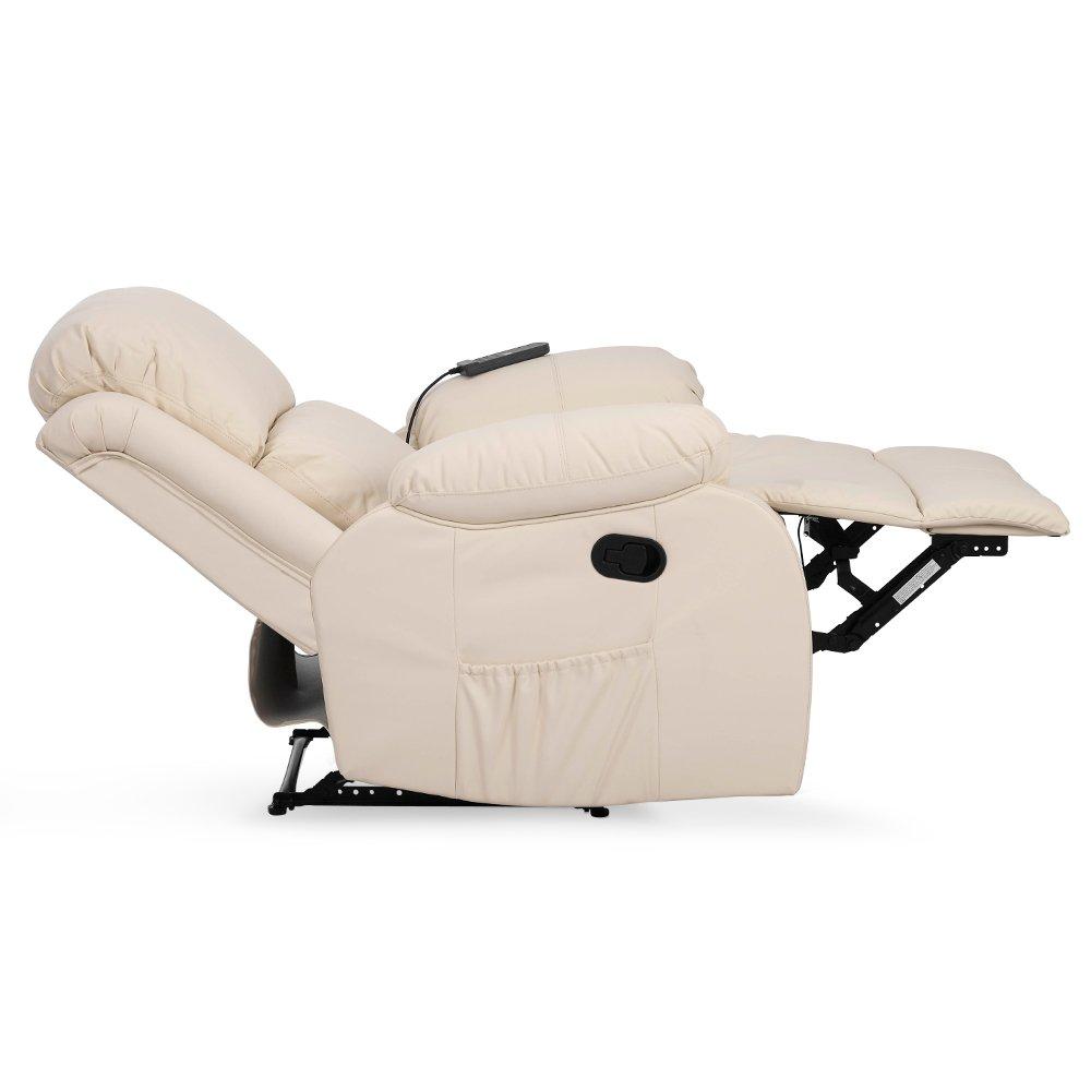 Silla de masaje Coliseum Sistema de calentamiento lumbar y 10 motores que cubren las 4 zonas del cuerpo, negro (crema)
