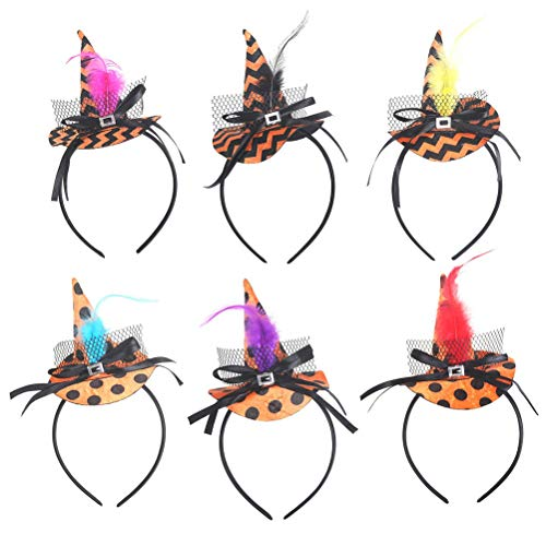 Amosfun 6pcs Halloween Witch Headband Witch Hat Hair Hoop Funny Party costume -
