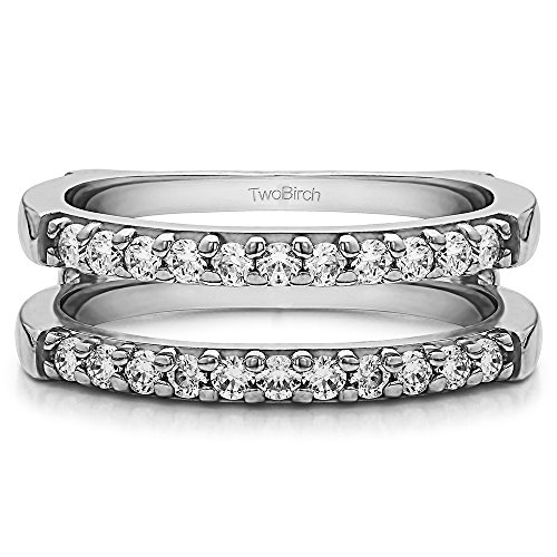 - TwoBirch 0.51 ct. Cubic Zirconia Double Shared Prong Straight Ring Guard in Sterling Silver (1/2 ct. twt.)