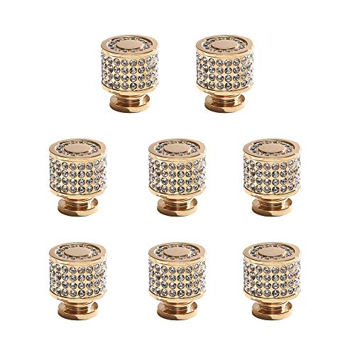 Turs Round Cabinet Handles and Knobs with Crystal All Brass Drawer/Furniture Pulls with Screws Contemporary Euro Style 8 Pack, Titanium Gold, P2003TG-P8 ()