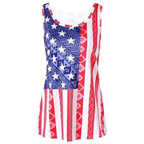 (TUSANG Women Shirt Fashion American Flag Printed T-Shirt Short Sleeve Top Blouse Round Collar Loose Flowy Tunic(White,US-4/CN-S))