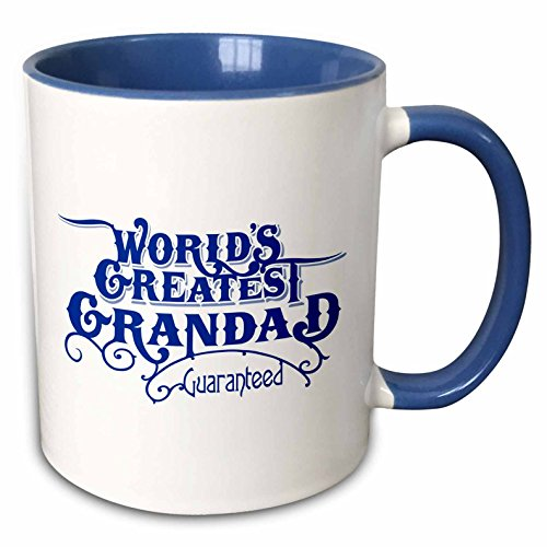 3dRose mug_219403_6 Worlds Greatest Grandad Guaranteed Design in Blue and White - Two Tone Blue Mug, - Grandad Mug