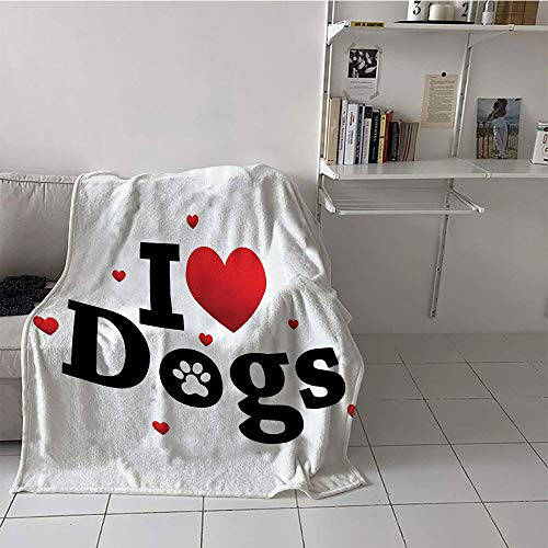 Khaki home Children's Blanket Boys Lightweight E x tra Big (60 by 80 Inch,Dog Lover Decor Collection,I Love Dogs Sign Domestic Animal Friendship Togetherness Companionship Themed Art,Red Black