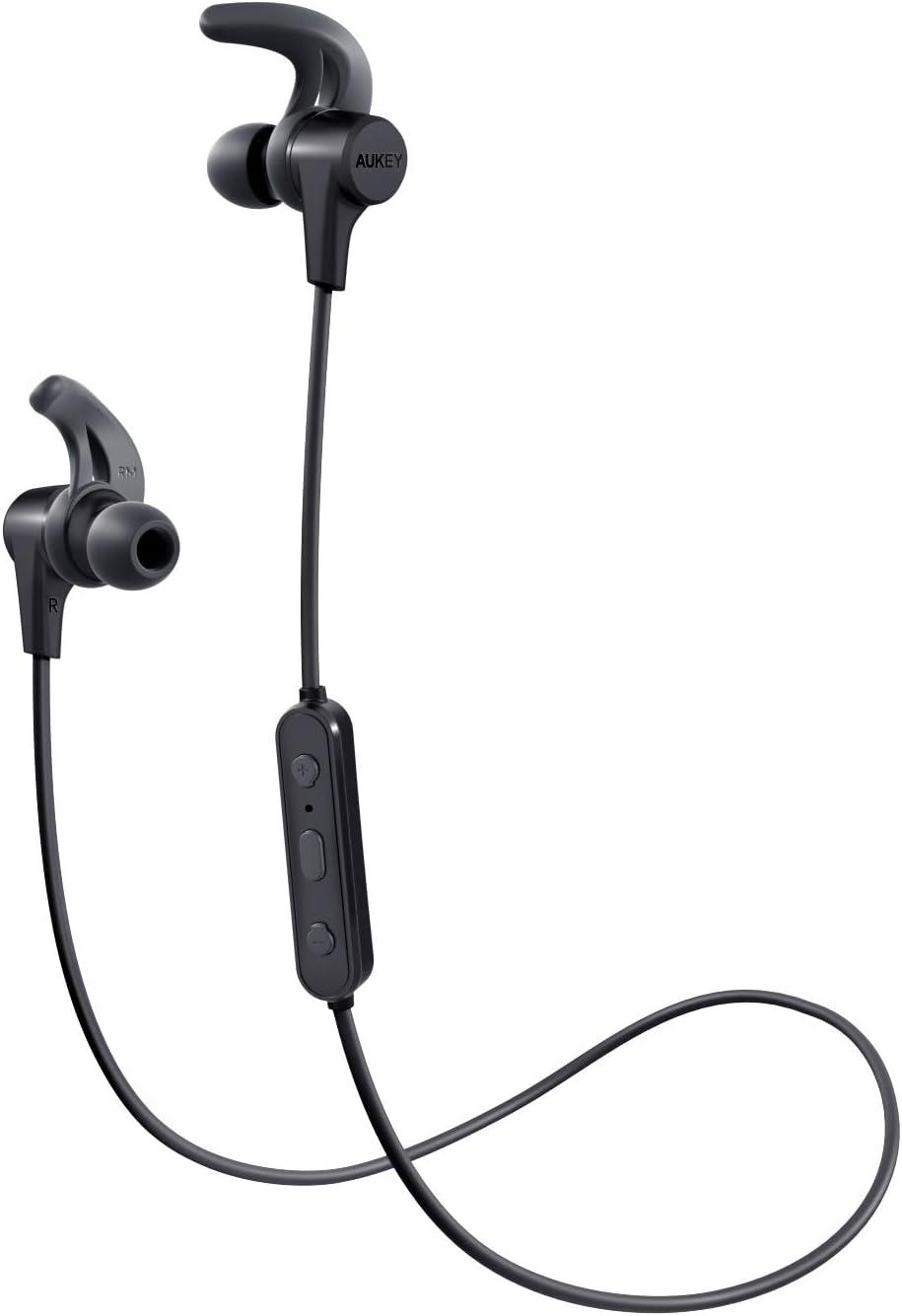 AUKEY Auriculares Bluetooth Inalámbricos Deportivos, Auricular Impermeable, 8 Horas Reproducción de Música, Micrófono Incorporado, para iPhone, Samsung, Huawei, Xiaomi ect