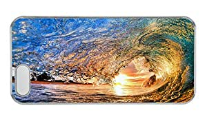 Customized iphone 5S durable case Under the sun the sea waves rolled PC Transparent for Apple iPhone 5/5S