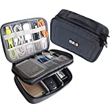 BUBM Electronic Organizer, Double Layer Travel Gadget Storage Bag for Cables, Cord, USB Flash Drive, Power Bank and More-a Sleeve Pouch for 7.9'' iPad Mini(Medium,Black)