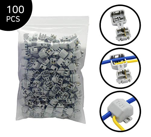 AlphaO Quick Splice Snap Wire Connector - Self-Stripping Electrical Butt Connector Terminal Kit No Clipping, Splicing, Taping Needed/One-to-One & T-tap Connection (T-21, 100 pcs, 20-18, 24-22 AWG)