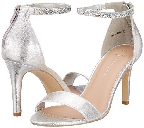 Tobillo Look Zapatos Y Mujer Silver Para Wide De Tacon Con Tanklet silver Foot 92 New Correa vdaIv