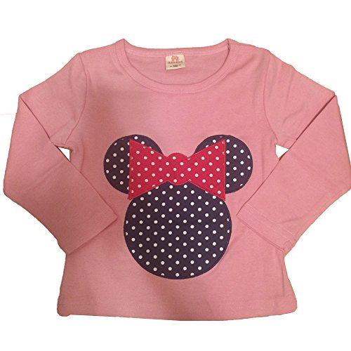 [Minnie Mouse Polka Long Sleeve Tee T-shirt for Little Toddler Girls (4T, Rose)] (Minnie Mouse Outfit Ideas)