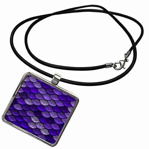 Abstract Graphics - Image of Blue Mermaid Scale Pattern - Necklace With Rectangle Pendant (ncl_274690_1) (Graphic Image Jewelry)