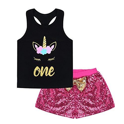 YiZYiF Baby Girls Fairy Princess Shorts Outfits Set Unicorn Letter Print Vest Tops and Sequins Pants Black&Rose 12-18 Months Fairy Princess Short
