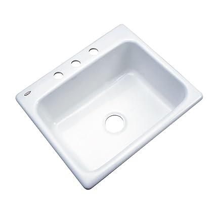 Awe Inspiring Dekor Sinks 32300 Princeton Cast Acrylic Single Bowl Kitchen Sink 3 Hole 25 White Interior Design Ideas Gentotryabchikinfo