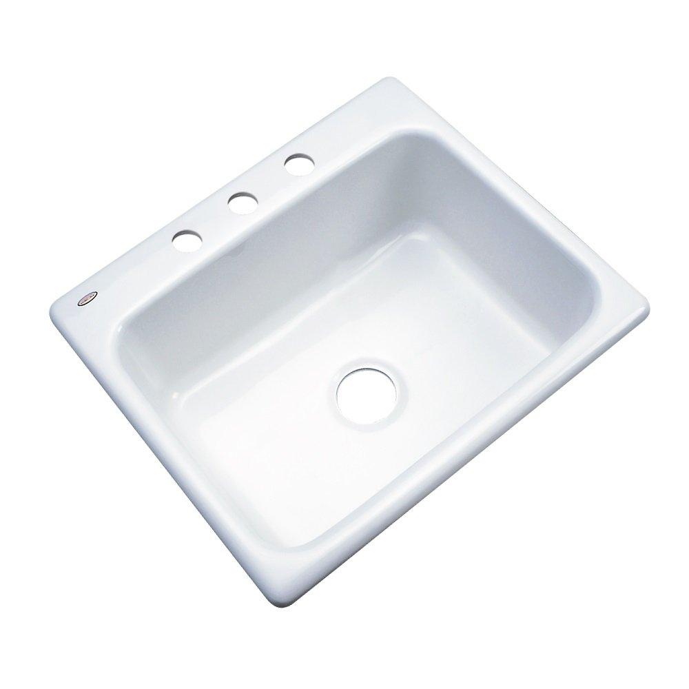 Dekor Sinks 32300 Princeton Cast Acrylic Single Bowl Kitchen Sink-3 Hole, 25'', White