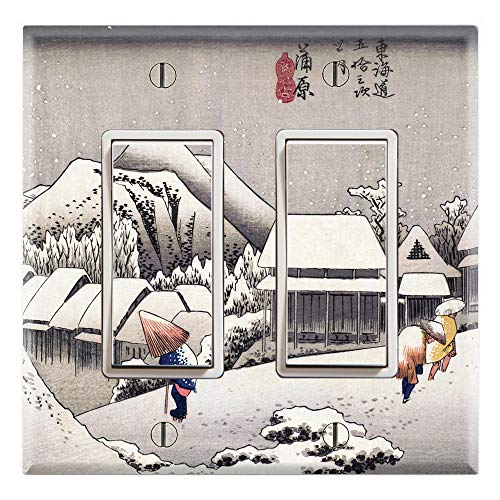 Snow Hiroshige Evening (Graphics Wallplates - Ukiyoe Evening Snow at Kanbara by Hiroshige- Double Rocker/GFCI Wall Plate Cover)