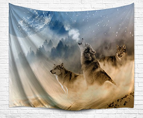 DENGYUE Howling Wolf Wall Tapestry, Three Musketeers Wolves In Desert Sandy Land Howling To Moon Wall Hanging Art Decors Tapestry For Bedroom Living Room (Wolf Mandala)