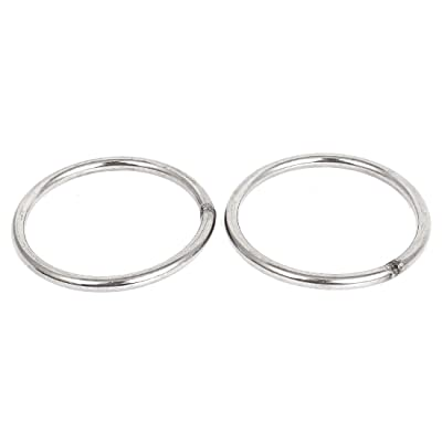 uxcell a15060500ux0111 80mm x 6mm Stainless Steel Webbing Strapping Welded O Rings (2 Piece): Home Improvement